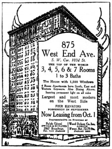 Advertisement for 875 West End Ave. from the N.Y. Times, September 7, 1924
